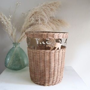 Wicker rattan Safari animals basket